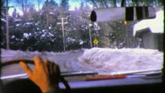 ICY Road Dangerous Winter CAR Trip Driving USA 1950 Vintage Film Home Movie 3764 Stock Footage