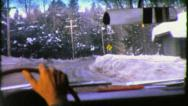 Stock Video Footage of ICY Road Dangerous Winter CAR Trip Driving USA 1950 Vintage Film Home Movie 3764