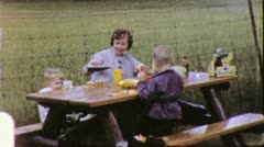 MOTHER AND SONS FAMILY PICNIC 1960s (Vintage Retro Film Home Movie) 3768 Stock Footage