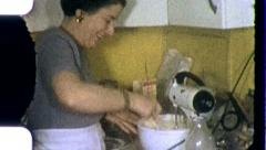 Happy Woman MAKING A CAKE in Kitchen Mixing 1950s Vintage Film Home Movie 3782 Stock Footage