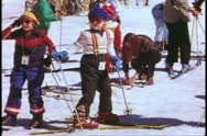 Stock Video Footage of Yosemite National Park, California, children learning to ski, boy falls