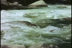 Stock Video Footage of Yosemite National Park, California, in Spring, Merced River, rushing, filled to