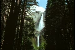Yosemite National Park, California, wide view  of upper and lower falls Stock Footage