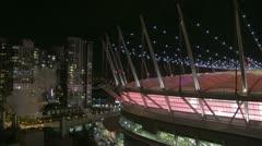 BC Place stadium pink interior night Stock Footage