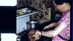 Hillbilly RURAL WOMAN Cooking in Kitchen Farm 1955 Vintage Film Home Movie 3804 Stock Footage