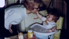 HIGH CHAIR FUN MOTHER AND Happy BABY 1960s Vintage Film Home Movie 3805 Stock Footage