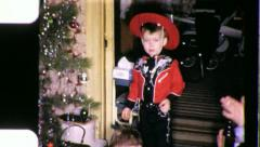 BOY CHRISTMAS Morning Cowboy Suit Costume Kid 1950s Vintage Film Home Movie 3808 - stock footage