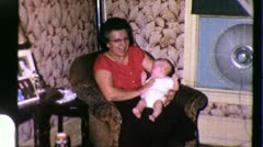GRANDMOTHER Grand Child Woman  HOLDING 1960s Vintage Film Home Movie 3812 Stock Footage
