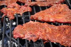Carne asada on bbq Stock Photos