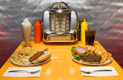 retro diner - stock photo