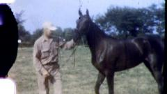 TRAINER and HORSE Racehorse Thoroughbred 1950s Vintage Film Home Movie 3814 - stock footage