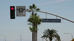 Pacific Coast Highway road sign Stock Footage