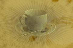 grunge vintage coffee cup stain background - stock illustration