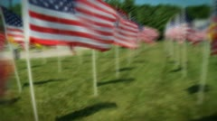 US flags in rows 4 Stock Footage