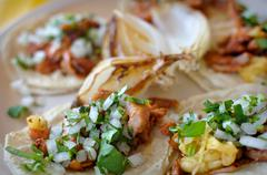 Authentic mexican street tacos Stock Photos
