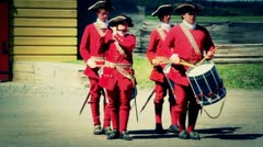People Roleplaying as Colonial Drummers Stock Footage