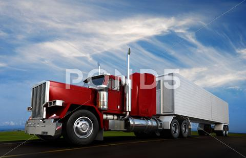 Stock Illustration of big 18 wheeler