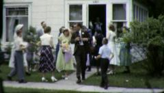 Newly Married WEDDING Rice Shower Bride Groom 1960s Vintage Film Home Movie 3844 Stock Footage