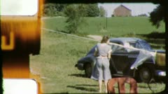 WOMAN DOING LAUNDRY Housework 1960s Vintage Film Retro Home Movie 3847 Stock Footage