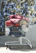 Stock Photo of homeless shopping cart