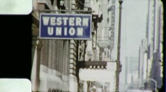 WESTERN UNION Send Money Street Sign NYC 1960s Vintage Film Home Movie 3873 Stock Footage