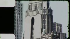 SKYSCRAPERS NEW YORK CITY From Window Late 1940s (Vintage Home Movie) 3874 Stock Footage