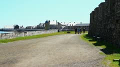 Tourist at French Fort Louisbourg Stock Footage