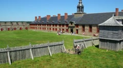 Tourist at Fort Louisbourg Nova Scotia Stock Footage