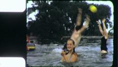 GIRLS PLAY in POOL Fitness Teenage Family Fun 1960  Vintage Film Home Movie 3878 Stock Footage