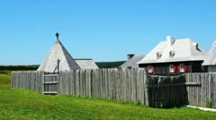 Old Town Inside Fort Louisbourg Stock Footage