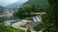 Dams in the mountains, full of lake water. Stock Footage