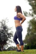 beautiful female athlete outdoors (1) - stock photo