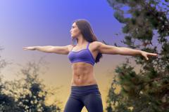 Beautiful female athlete outdoors (3) Stock Photos
