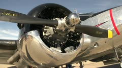Aircraft, WWII era military Beech Expeditor, pan from engine Stock Footage