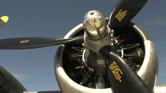 Aircraft, Boeing B17 flying fortress, pan engine to nose Stock Footage