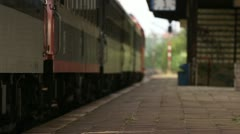 Passenger train arrival to a station Stock Footage