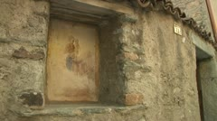 Stonework Sketch of Mother and Child at Altar Stock Footage