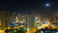 City time lapse at night, Benidorm, Spain Stock Footage