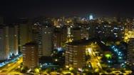 Stock Video Footage of Benidorm skyline, city time lapse at night