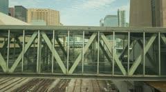 Walkway over tracks - stock footage