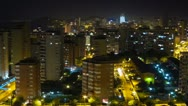 Stock Video Footage of Panoramic city time lapse at night