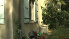 Gardening Equipment at Old House in Switzerland - stock footage