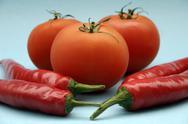 Tomato and paprika Stock Photos
