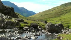 Fast flowing river with mountain range Stock Footage