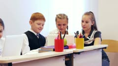 Happy schoolchildren Stock Footage