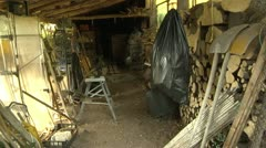 Shed Interior with Gardening Equipment in Switzerland - stock footage