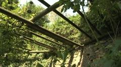 Wooden Posts Above Garden in Switzerland Stock Footage