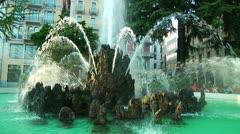 Beautiful Stone Fountain in Lugano, Switzerland Stock Footage