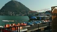 Boats Docked at Lake Lugano Stock Footage