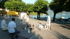 Large Chess Set in Park in Lugano, Switzerland Stock Footage